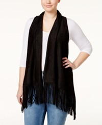 American Rag Plus Size Faux Suede Fringe Vest Only At Macy's Classic Black
