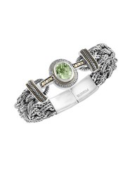 Effy Diamond Green Amethyst And Sterling Silver Bracelet 0.13 Tcw