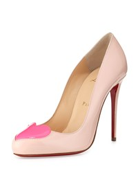 Christian Louboutin Doracora Patent Heart Red Sole Pump Ballerina Shocking Pink