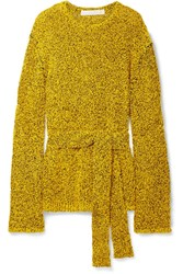 Dion Lee Belted Textured Paper And Cotton Blend Sweater Yellow