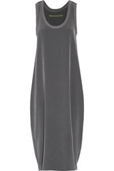 Enza Costa Pleated Voile Midi Dress Dark Gray