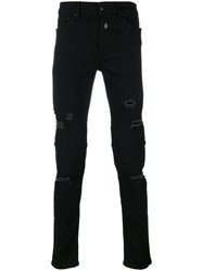 Marcelo Burlon County Of Milan Distressed Skinny Jeans Cotton Polyester Polyurethane Black