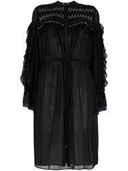 Koche Flared Shirt Dress Silk Polyester Glass Black