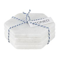 Stoned White Marble Coasters Set Of 4 Hexagon