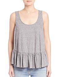 Current Elliott Ballet Peplum Cotton Jersey Tank Heather Grey