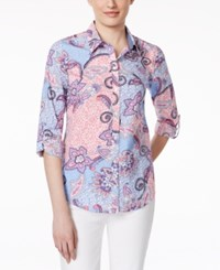 Charter Club Button Down Shirt Paisley Print Strawberry Ice
