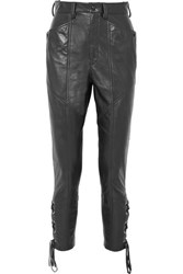 Isabel Marant Cadix Lace Up Tapered Leather Pants Black