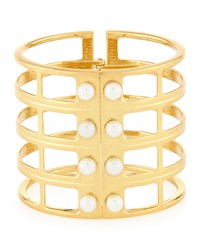 Lydell Nyc Golden Pearly Grid Cuff Bracelet Women's