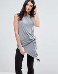 Y.A.S Ruche Tunic Top Gray