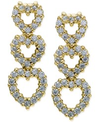 Giani Bernini Cubic Zirconia Pave Triple Heart Drop Sterling Silver Earrings Only At Macy's Gold