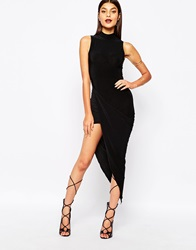 Club L Slinky High Neck Dress With Ruched Wrap Skirt Detail Black