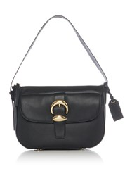 Dkny Pebbled Buckle Small Flap Over Hobo Bag Black