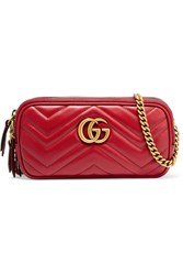 Gucci Gg Marmont Mini Quilted Leather Shoulder Bag Red