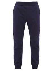 Versace Logo Embroidered Cotton Track Pants Navy
