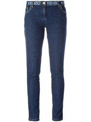 Kenzo Printed Waistband Slim Fit Jeans Blue
