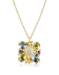 A Z Collection Gold Plated Flower Drop Necklace Multicolor
