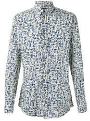 Dolce And Gabbana Printed Shirt Men Cotton 41 Blue