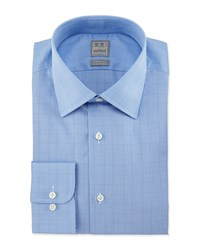 Ike Behar Glen Plaid Woven Dress Shirt Blue