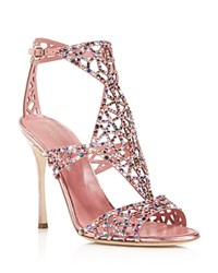 Sergio Rossi Tresor Swarovski Crystal High Heel Sandals Rose