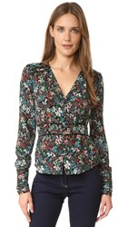 Veronica Beard Ripley Ruched Boho Blouse Black Multi
