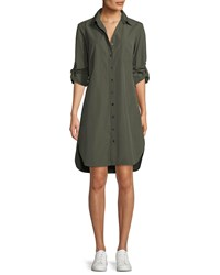 Finley Alex Long Sleeve Button Front Shirtdress Olive