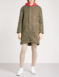 Chocoolate Contrasting Hood Quilted Bomber Jacket Khaki