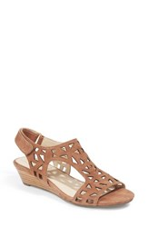 Me Too Women's Laser Cut Wedge Sandal Tobacco Suede