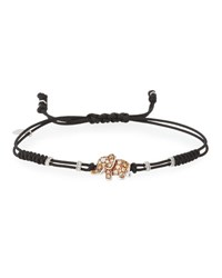 Pippo Perez Pull Cord Bracelet With Brown And White Diamond Elephant Station