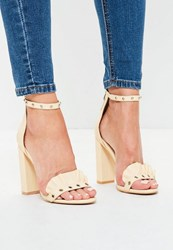 Missguided Nude Frill And Eyelet Vamp Block Heels Cream