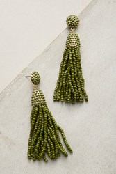 Anthropologie Pinata Spring Beaded Drop Earrings Green