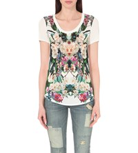 Karen Millen Jungle Print Jersey T Shirt Grey