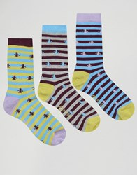 Penguin 3 Pack Stripe Print Socks Lilac Multi Purple