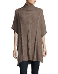 Bb Dakota Turtleneck Cable Knit Poncho Stone Brown
