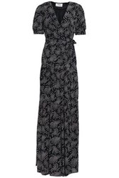 Baandsh Woman Printed Voile Maxi Wrap Dress Midnight Blue