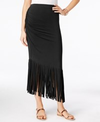 Inc International Concepts Petite Asymmetrical Fringe Maxi Skirt Only At Macy's Deep Black