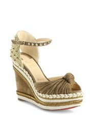 Christian Louboutin Madcarina 120 Knotted Suede Espadrille Wedge Platform Sandals Cappucino