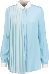 Vionnet Pleated Chiffon Paneled Stretch Silk Shirt Sky Blue
