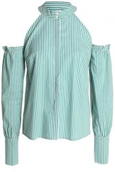 W118 By Walter Baker Cold Shoulder Striped Cotton Poplin Shirt Green