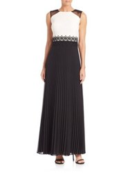 Kay Unger Colorblock Pleated Gown Black White