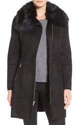 Cole Haan Signature Women's Faux Shearling Coat With Faux Fur Trim