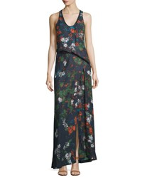 Cedric Charlier Sleeveless Floral Print Silk Maxi Dress Fantasia Blue