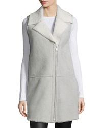 Bagatelle Zip Front Shearling Fur Vest Gray White Women's Grey White