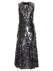 Dolce And Gabbana Sequin Embellished Flared Midi Dress Silver