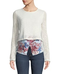 Casual Couture Floral Hem Twofer Sweater White