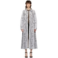 Alexander Wang Black And White Denim Python Fitted Trench Jacket