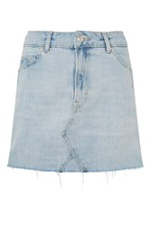 Topshop Moto Popper Mini Skirt Bleach Denim