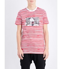 Blood Brother Striped Graphic Print Cotton Jersey T Shirt Red Stripe