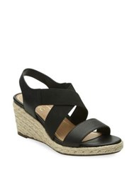 Vionic Ainsleigh Leather Wedge Sandals Black