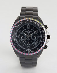 Police Watch Multi Functional Dial Watch With Rainbow Top Ring Black