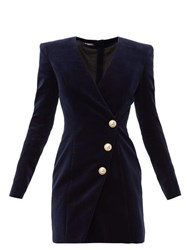 Balmain Buttoned Velvet Mini Dress Navy